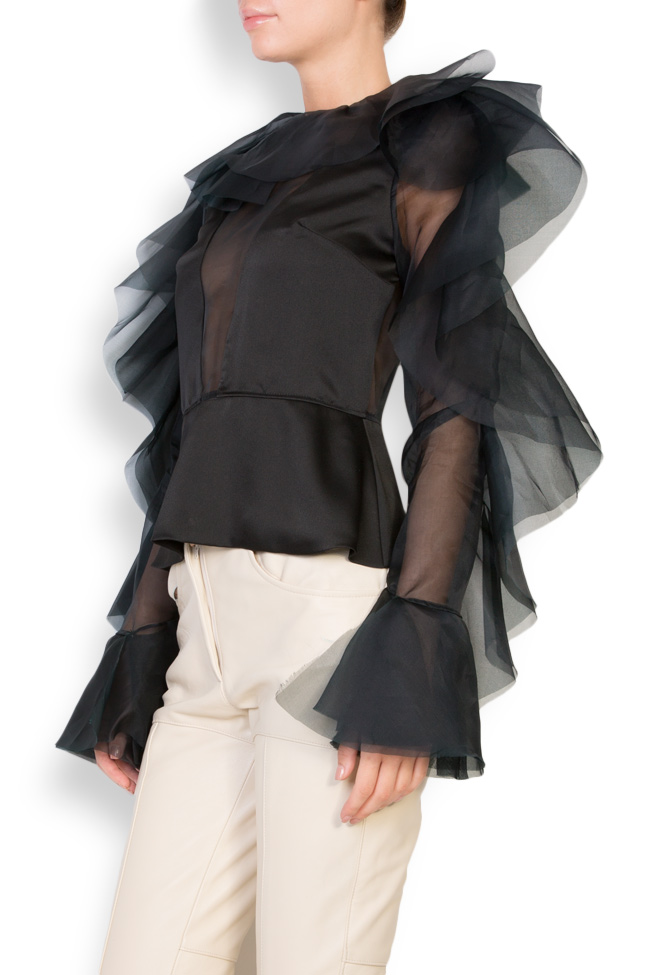 Ruffled silk organza top LUWA image 1