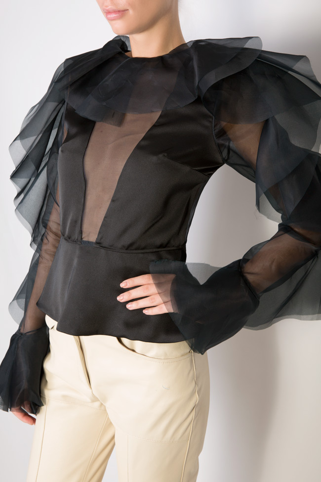 Ruffled silk organza top LUWA image 3