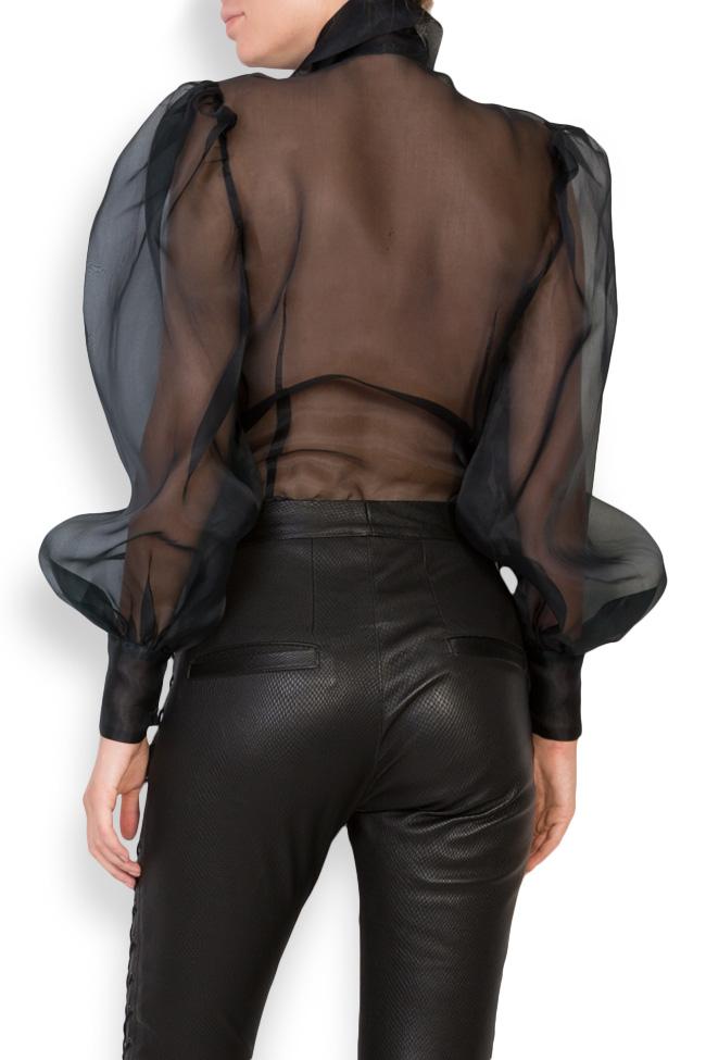 Pussy-bow silk-organza shirt LUWA image 2