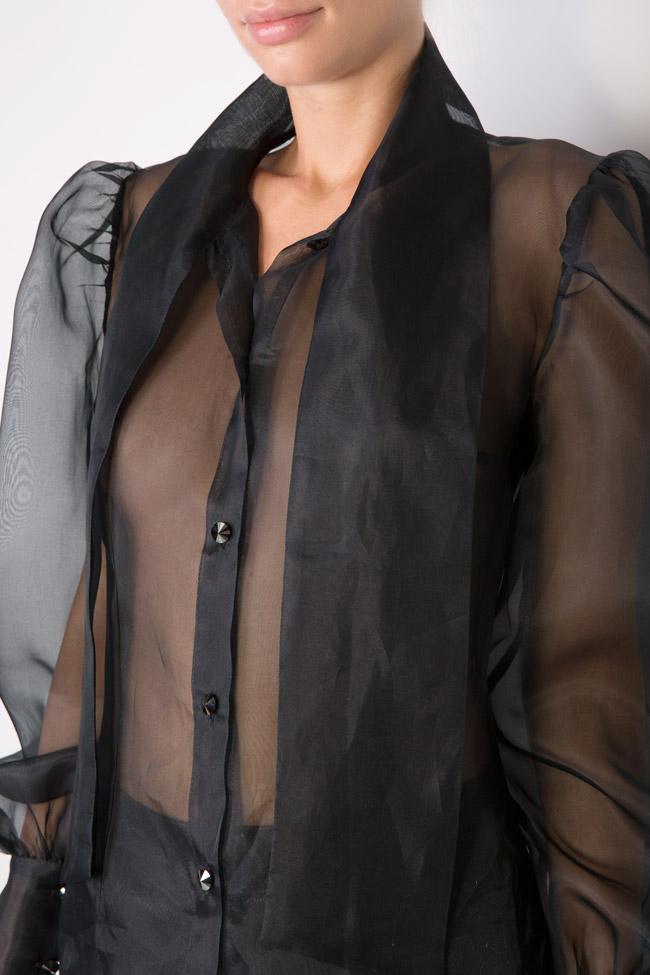 Pussy-bow silk-organza shirt LUWA image 3