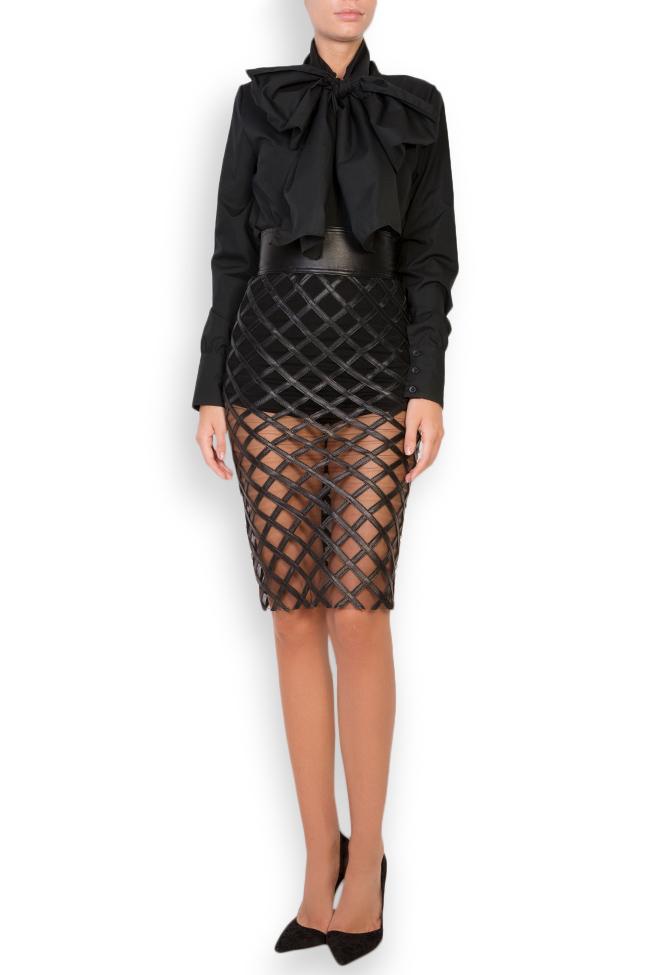 Tulle-paneled leather midi skirt LUWA image 0