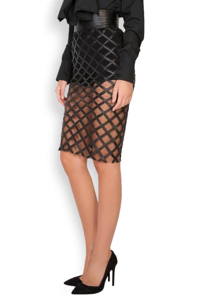 Tulle-paneled leather midi skirt LUWA image 1