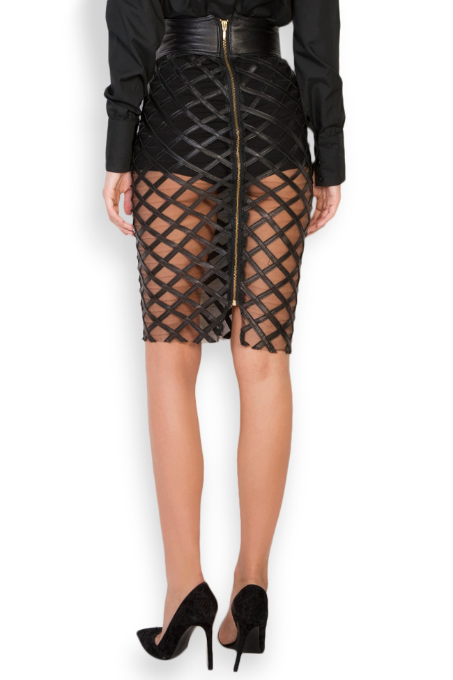 Tulle-paneled leather midi skirt LUWA image 2