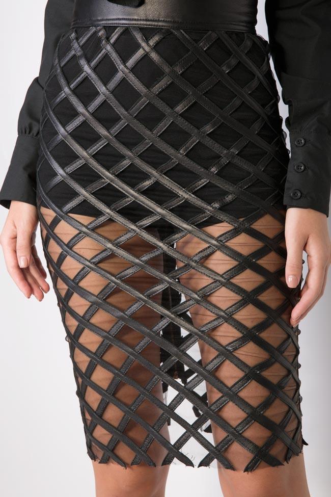 Tulle-paneled leather midi skirt LUWA image 3