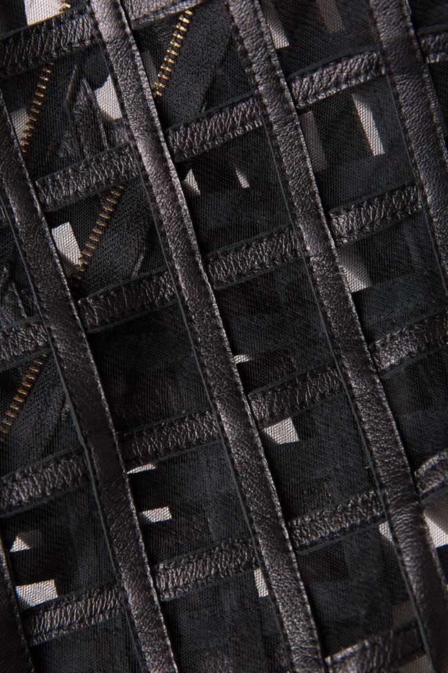 Tulle-paneled leather midi skirt LUWA image 4