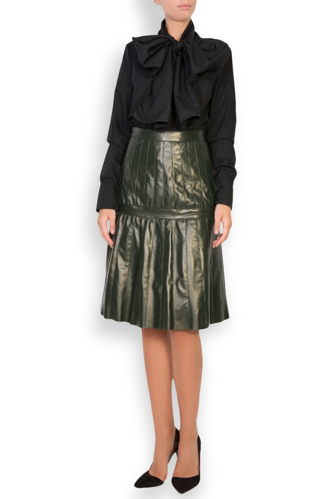 Pleated leather skirt LUWA image 0