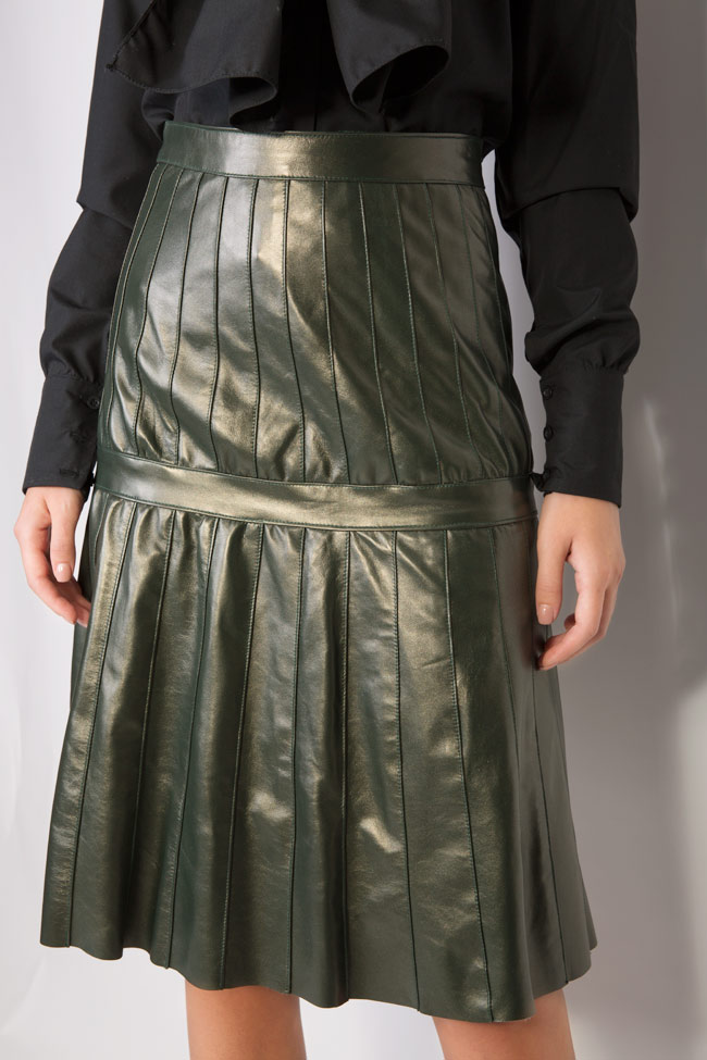 Pleated leather skirt LUWA image 3