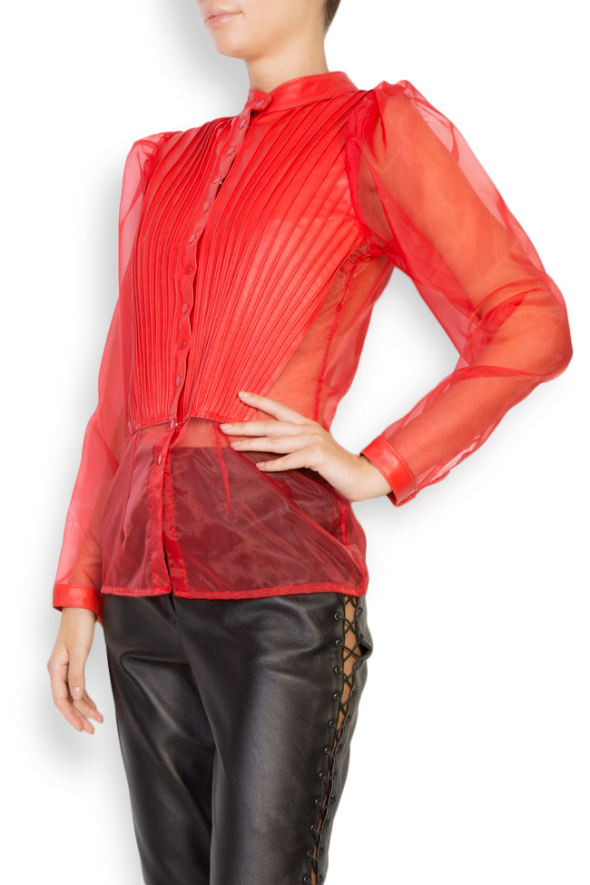 Leather-trimmed silk-organza top LUWA image 1