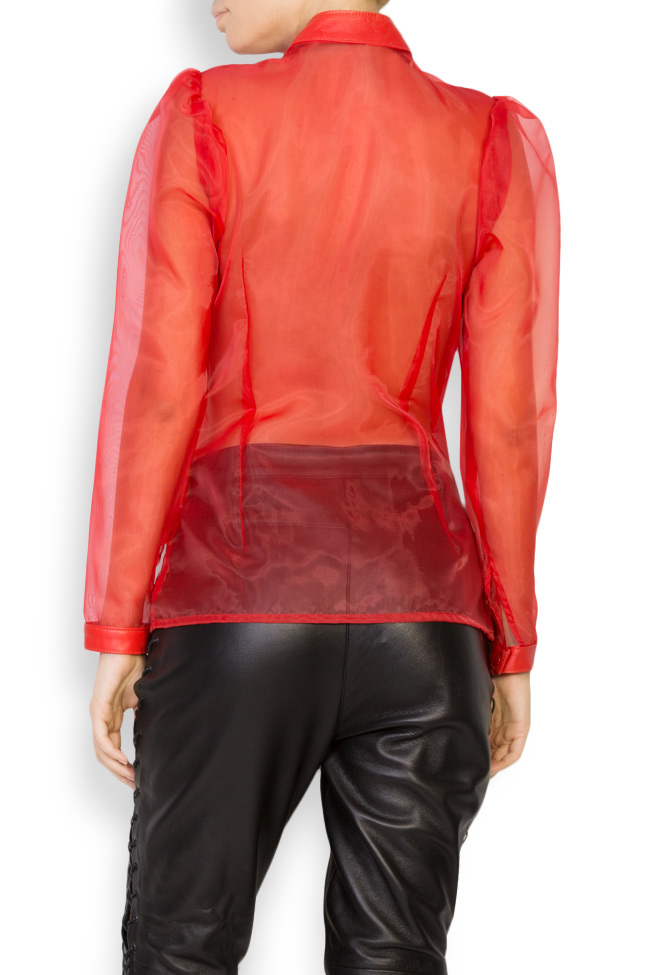 Leather-trimmed silk-organza top LUWA image 2
