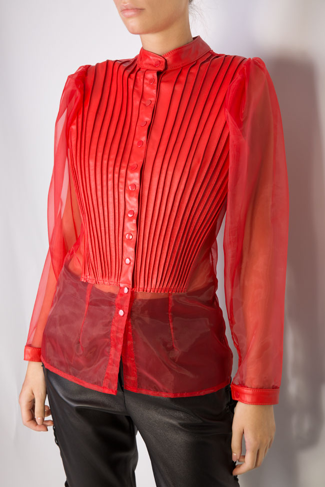 Leather-trimmed silk-organza top LUWA image 3