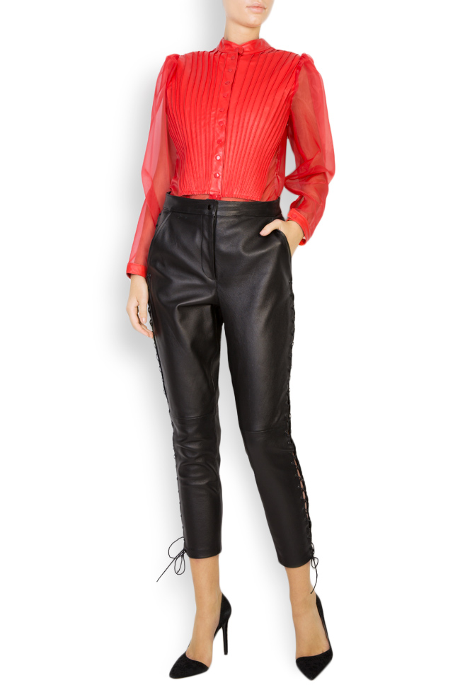 Leather-trimmed silk-organza top LUWA image 0