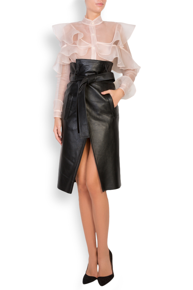 Asymmetric belted leather wrap skirt LUWA image 0