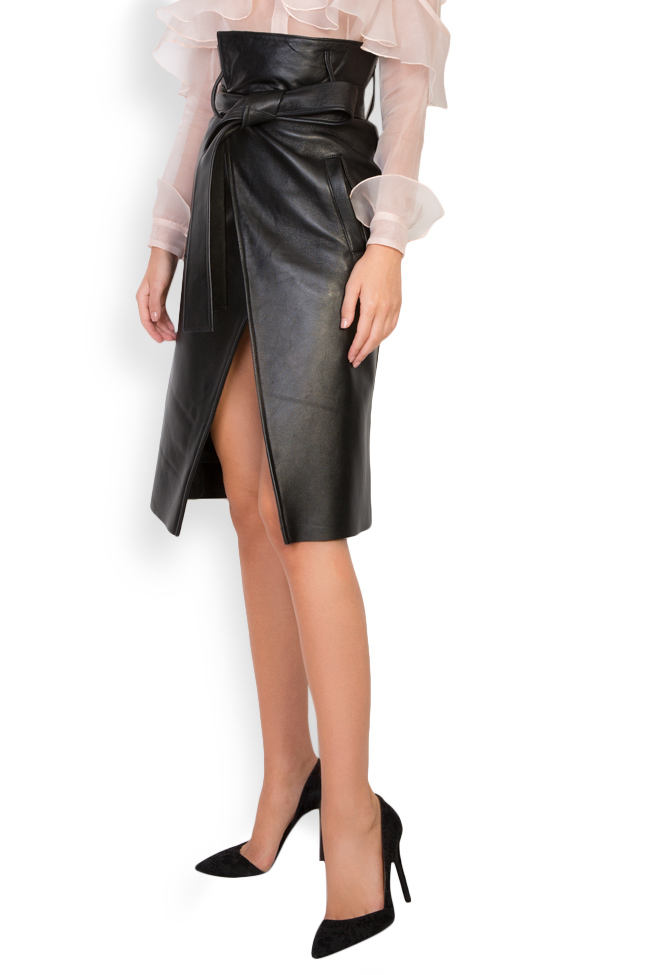 Asymmetric belted leather wrap skirt LUWA image 1