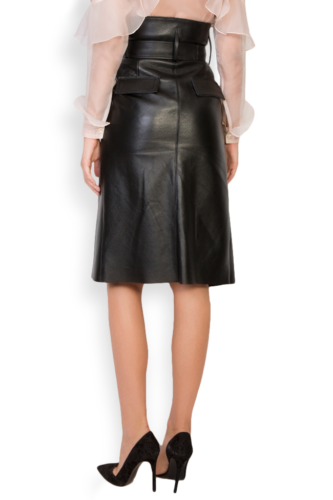 Asymmetric belted leather wrap skirt LUWA image 2