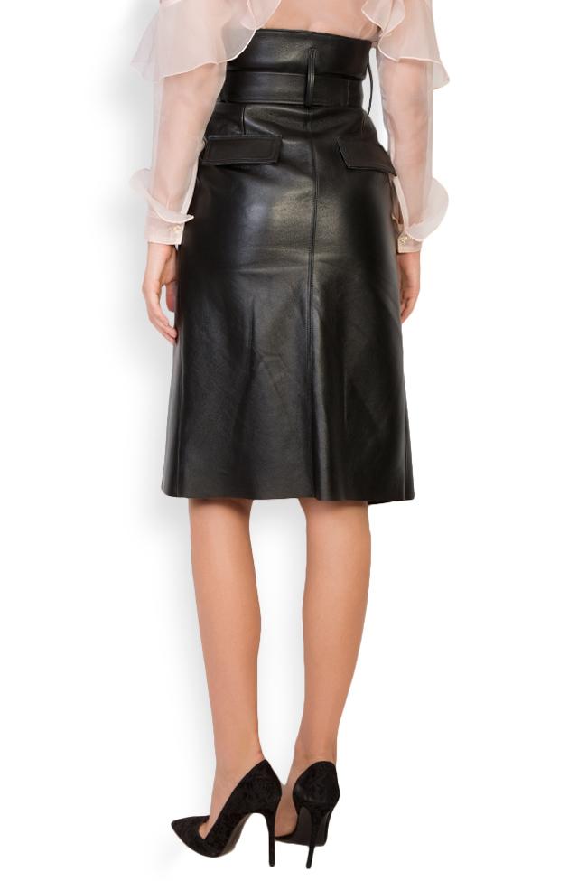 Asymmetric belted leather wrap skirt LUWA image 2