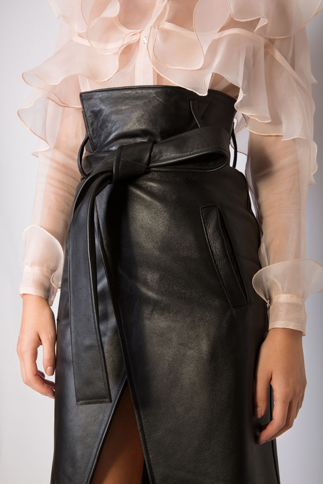 Asymmetric belted leather wrap skirt LUWA image 3