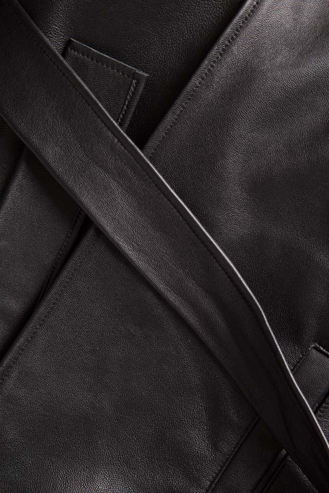 Asymmetric belted leather wrap skirt LUWA image 4