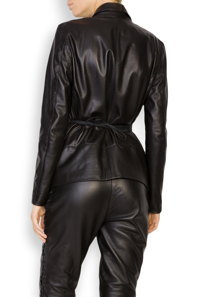 Belted leather blazer LUWA image 2