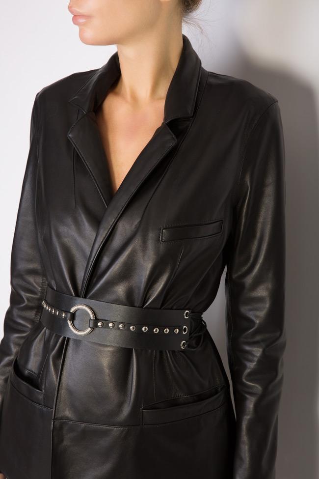 Belted leather blazer LUWA image 3