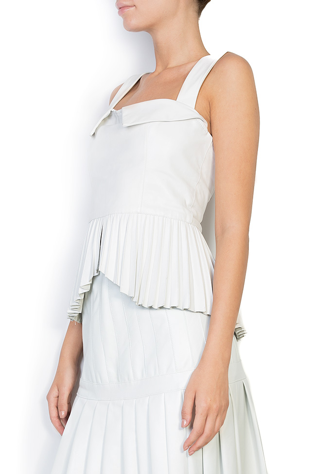 Asymmetric pleated leather top LUWA image 1