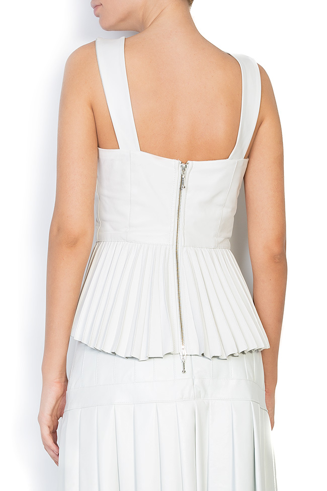 Asymmetric pleated leather top LUWA image 2