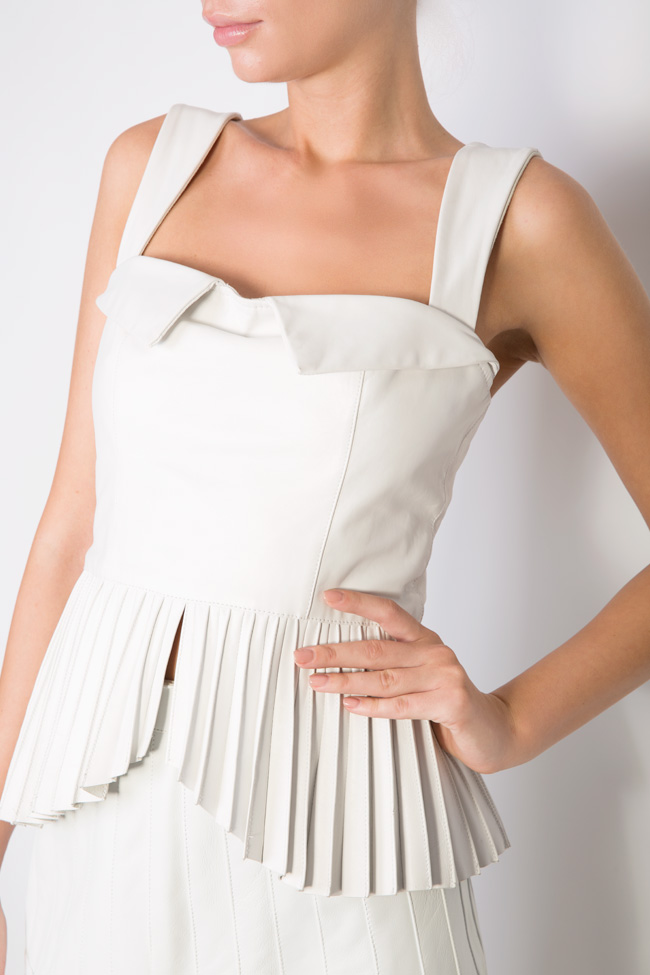 Asymmetric pleated leather top LUWA image 3