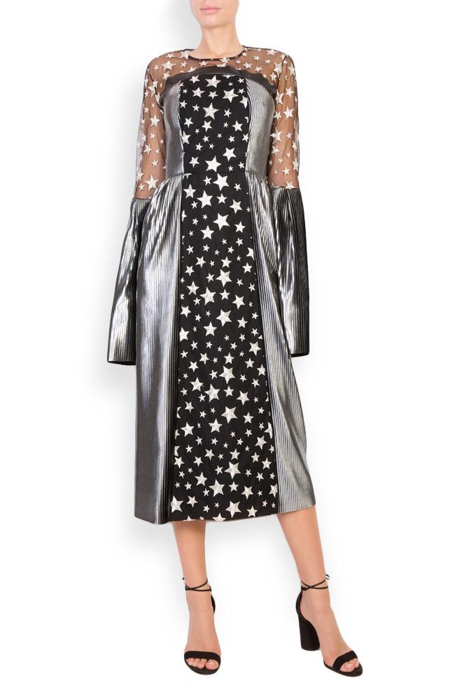 Tulle-paneled lamé midi dress LOOMY image 0