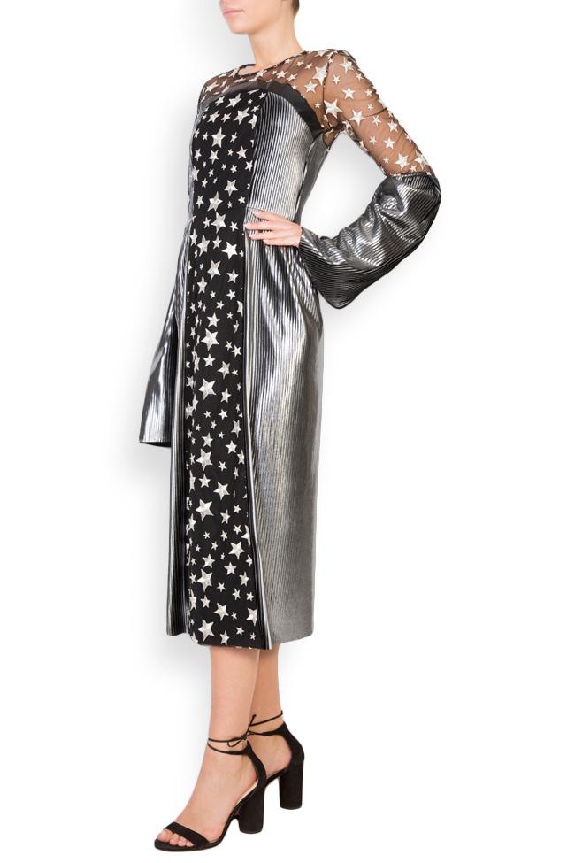 Tulle-paneled lamé midi dress LOOMY image 1
