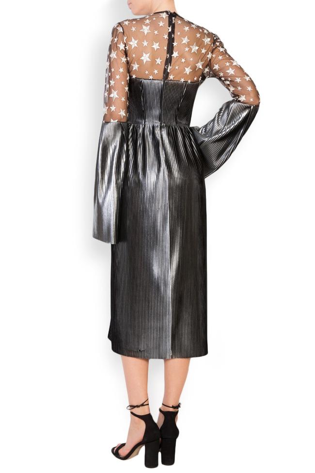 Tulle-paneled lamé midi dress LOOMY image 2
