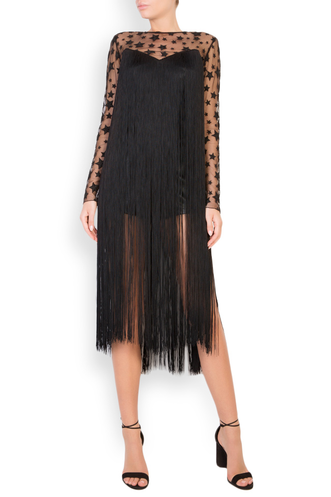 Fringed faux-leather tulle jumpsuit LOOMY image 0