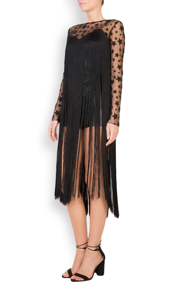 Fringed faux-leather tulle jumpsuit LOOMY image 1