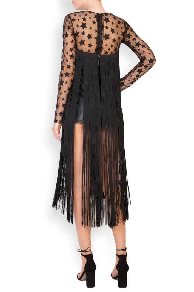 Fringed faux-leather tulle jumpsuit LOOMY image 2