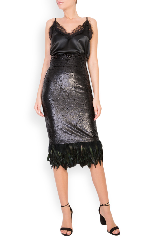 Feather-trimmed sequined crepe midi skirt LOOMY image 0