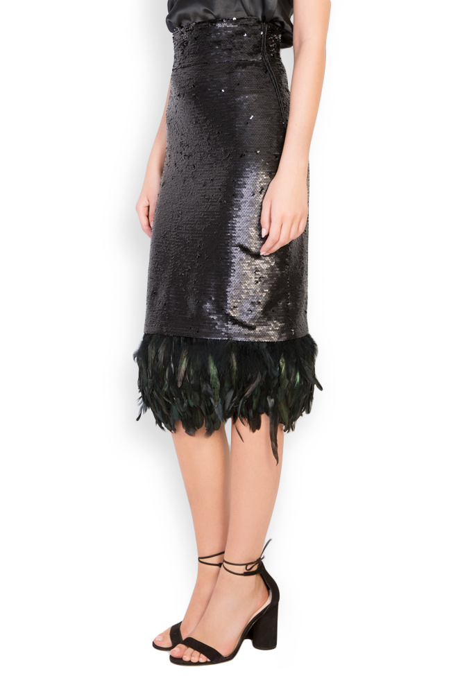 Feather-trimmed sequined crepe midi skirt LOOMY image 1