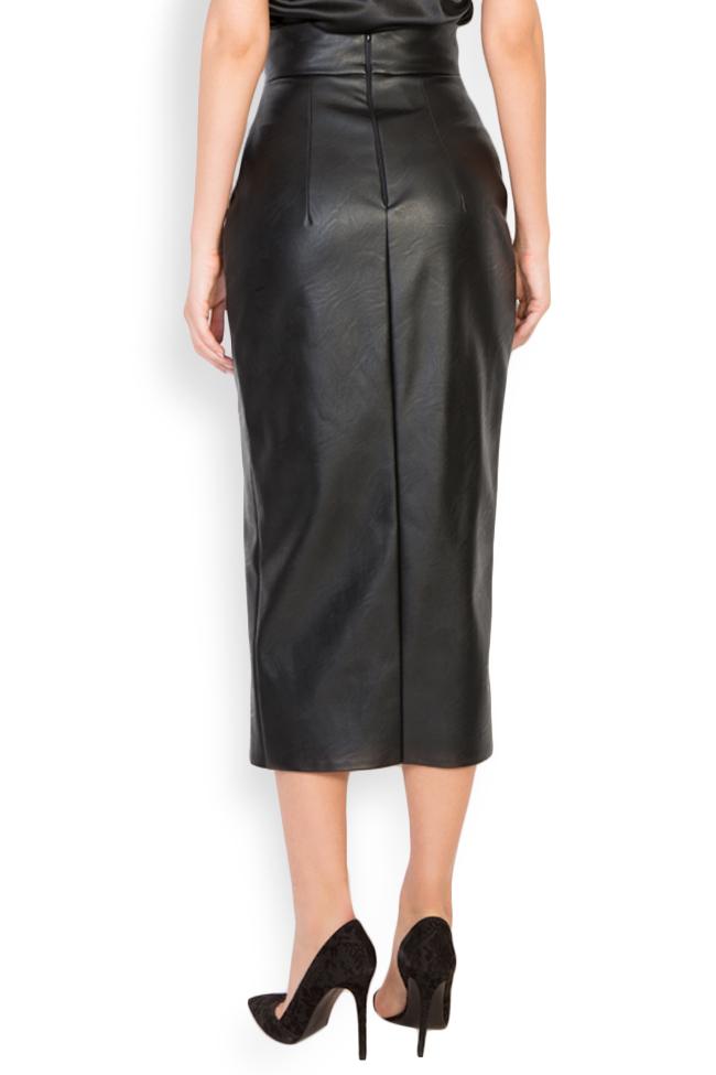 Faux-leather midi skirt LOOMY image 2