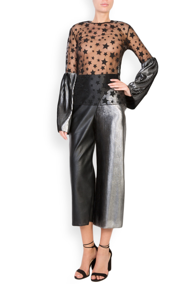 Star embroidered tulle top LOOMY image 0