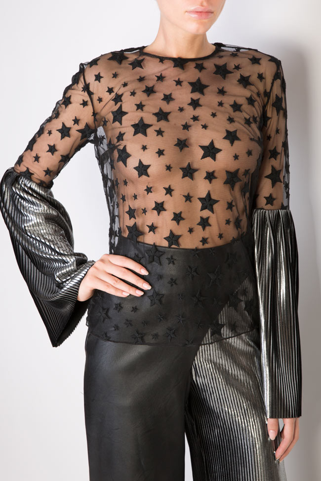 Star embroidered tulle top LOOMY image 3