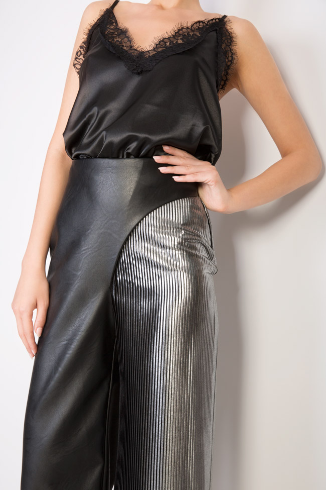 Two-tone faux-leather and pleated lamé pants LOOMY image 4