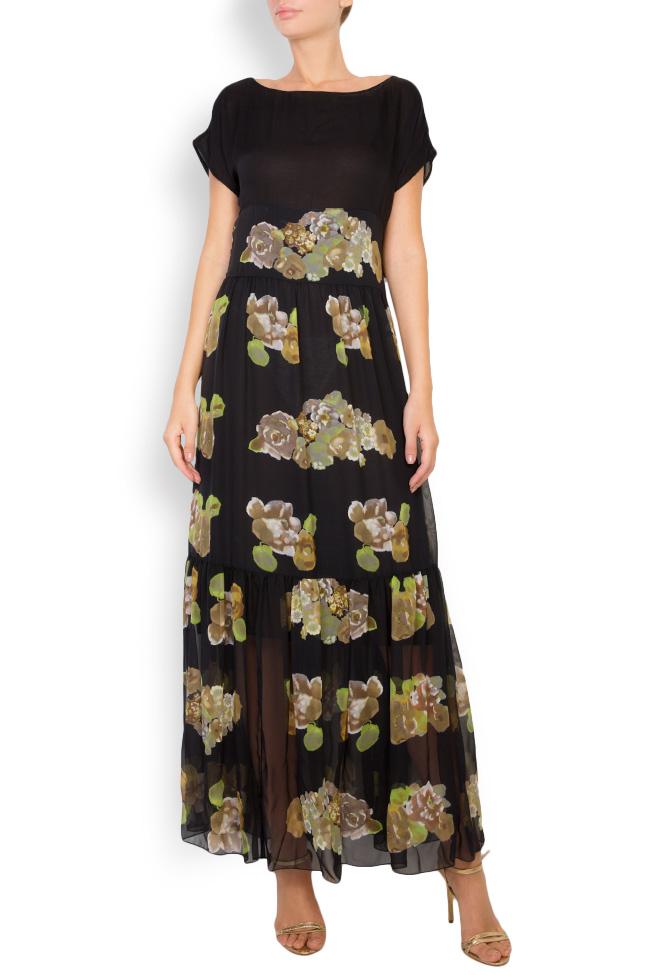 Rochie maxi din matase cu imprimeu floral Oana Manolescu imagine 0