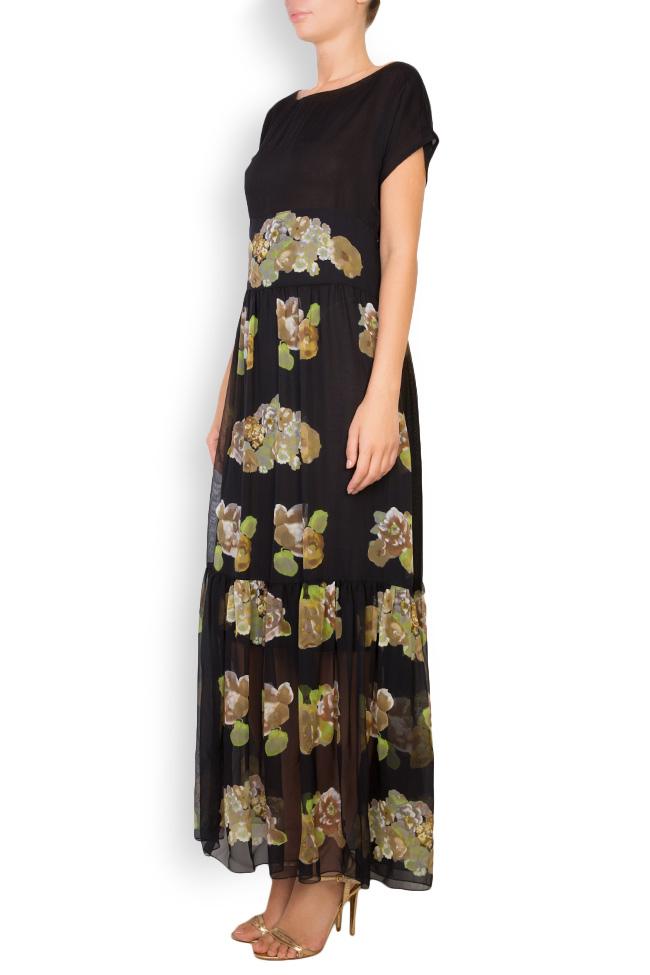 Rochie maxi din matase cu imprimeu floral Oana Manolescu imagine 1