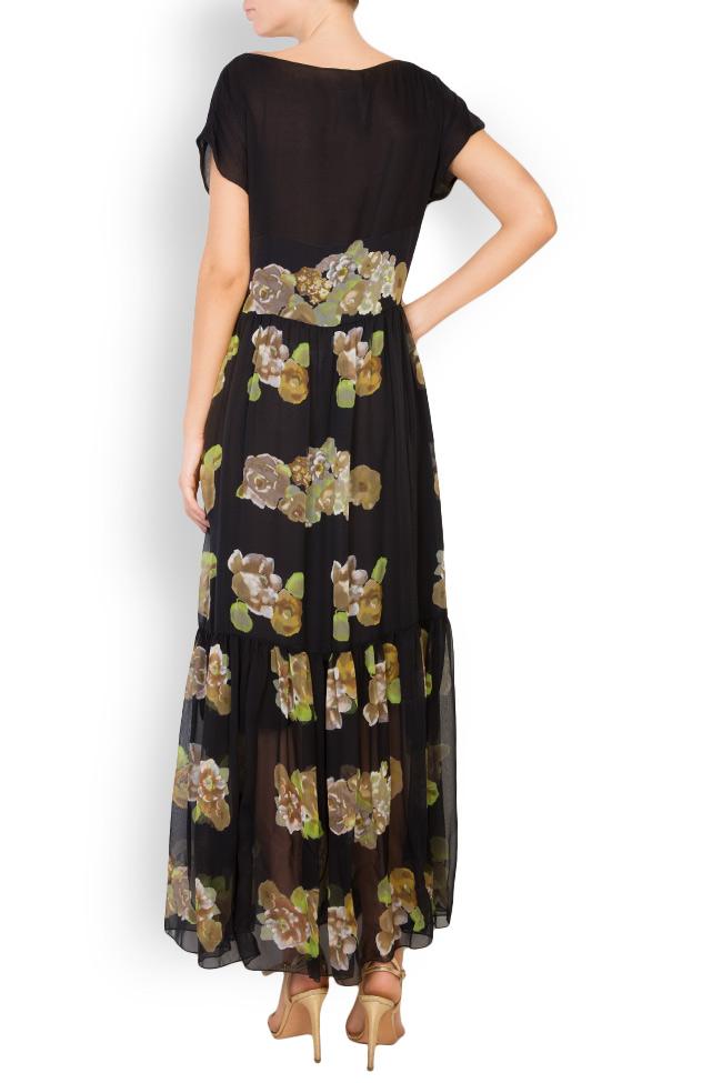 Rochie maxi din matase cu imprimeu floral Oana Manolescu imagine 2