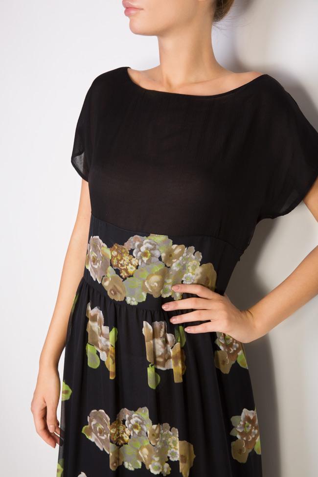 Rochie maxi din matase cu imprimeu floral Oana Manolescu imagine 3