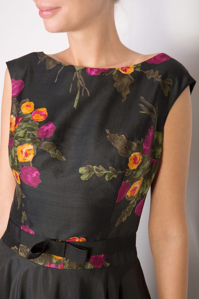 Rochie midi din matase cu imprimeu floral Oana Manolescu imagine 3