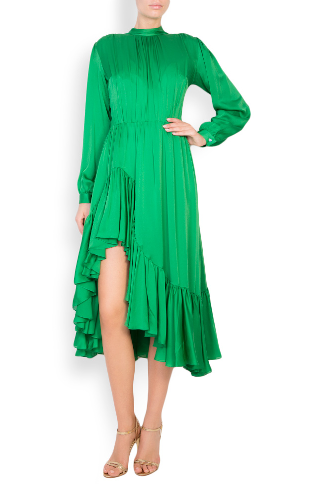 Rochie midi din matase cu volane si slit lateral Womanland by Irina Mazilu imagine 0