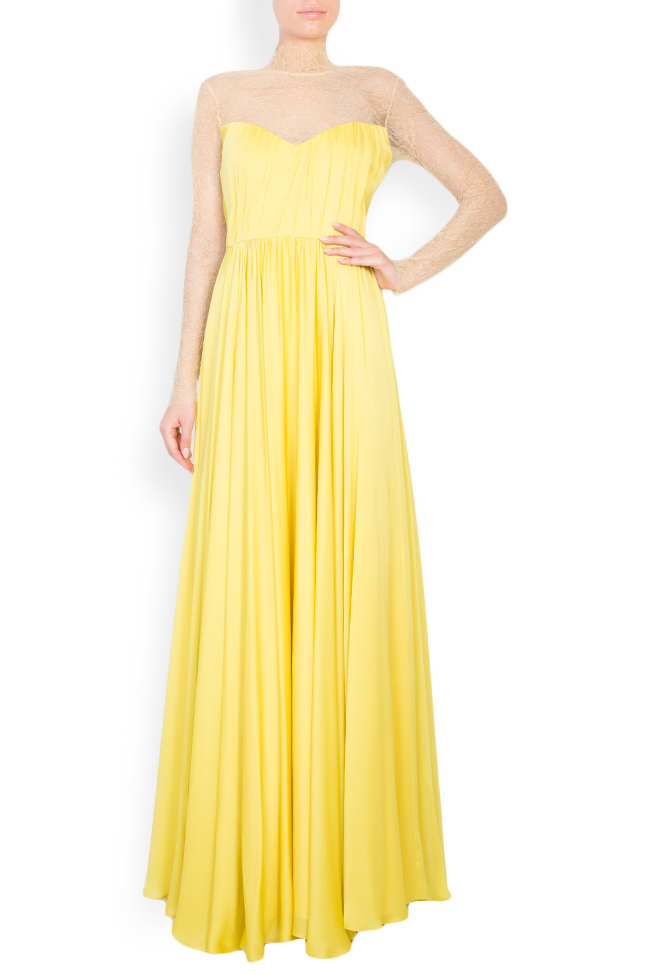 Rochie maxi din satin plisat cu insertii transparente Womanland by Irina Mazilu imagine 0