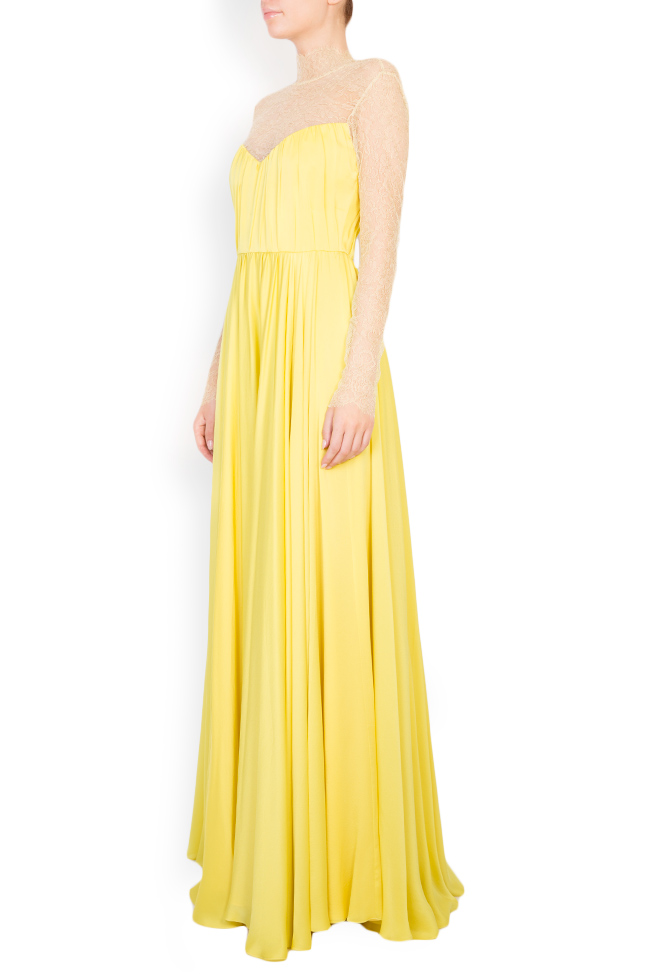 Rochie maxi din satin plisat cu insertii transparente Womanland by Irina Mazilu imagine 1