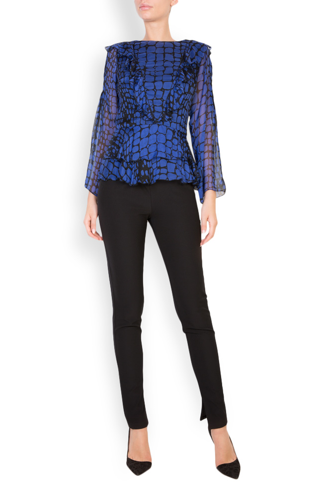 Bluza din voal cu imprimeu cu efect de sarpe Womanland by Irina Mazilu imagine 0