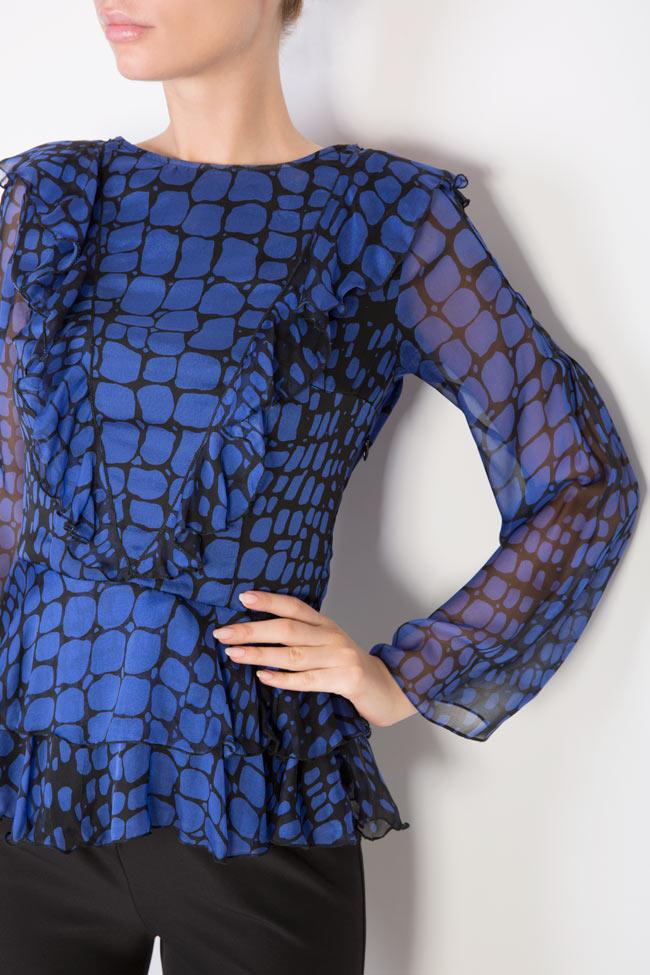 Bluza din voal cu imprimeu cu efect de sarpe Womanland by Irina Mazilu imagine 3