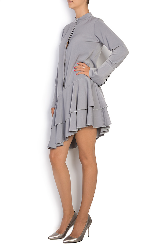 Asymmetric ruffled cotton-blend mini dress Bluzat image 1