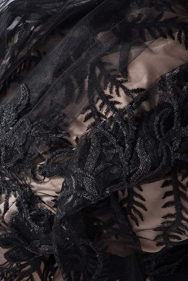 Rochie din tul brodata cu dantela cu fir de matase  Lace Bien Savvy imagine 4